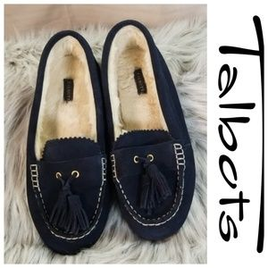 Talbots Women's Blue Fur Leather Loafers Shoes